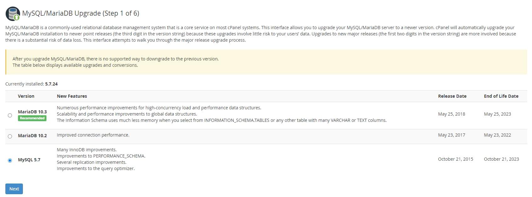 Web Host Manager cPanel Actualización de MySQL