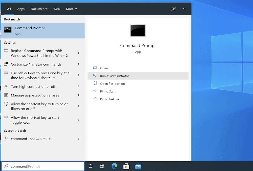 El símbolo del sistema de Windows.