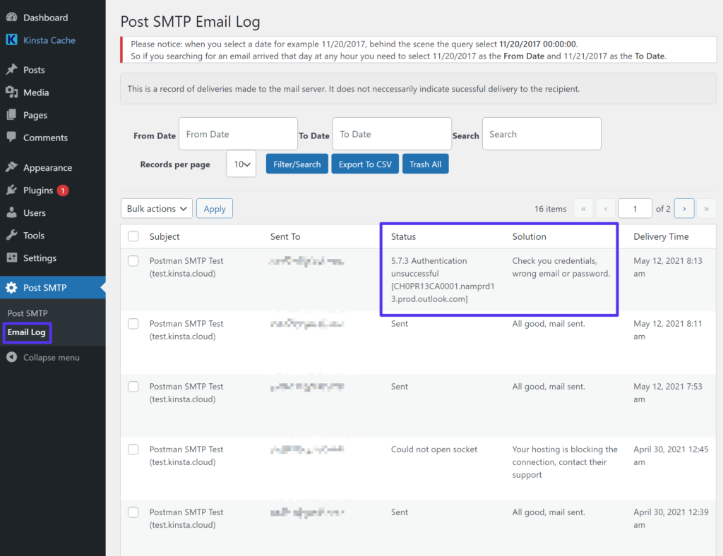 How to debug email sending problems using Post SMTP's email log