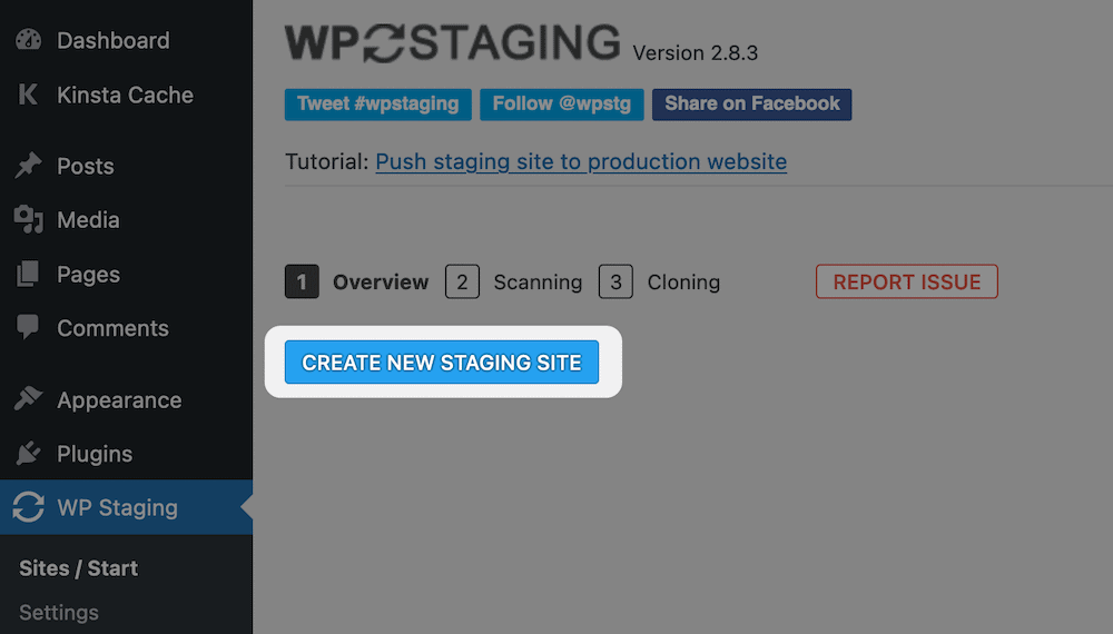 Creating a new staging site with WP Staging.