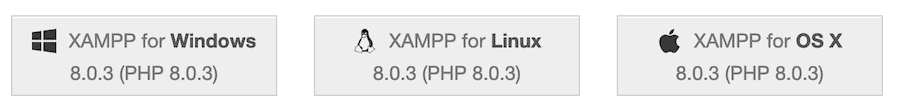 The XAMPP downloads page.