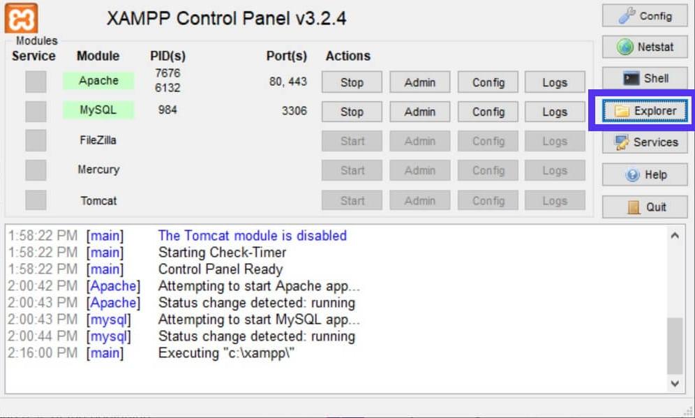 O botão Explorer no Painel de Controle do XAMPP.