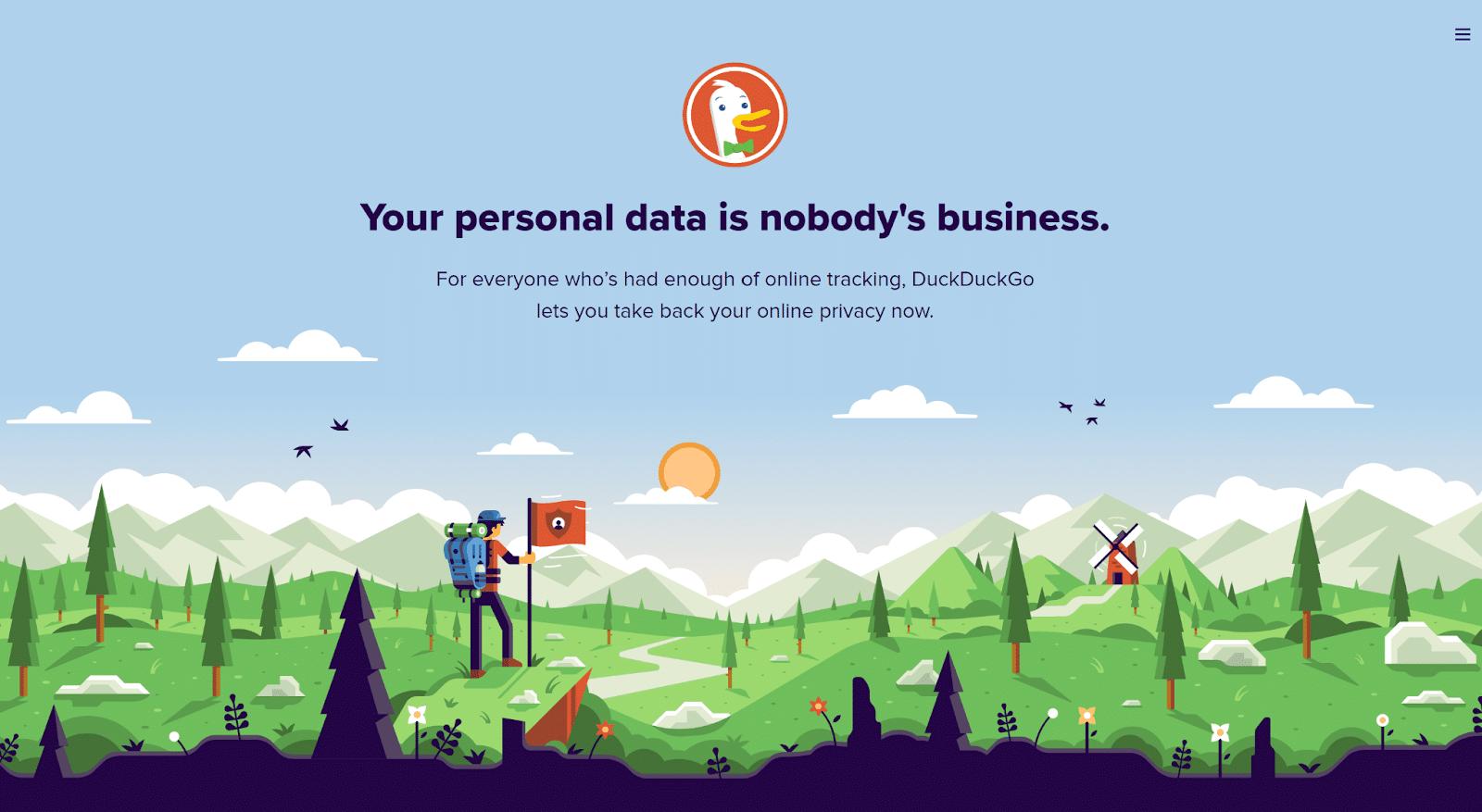 DuckDuckGo è un motore di ricerca che promuove la privacy online.