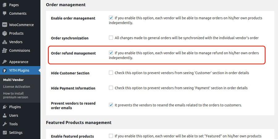 YITH WooCommerce Multi-Vendor refund management.