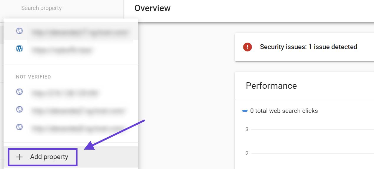 Adicionando um imóvel ao Google Search Console.
