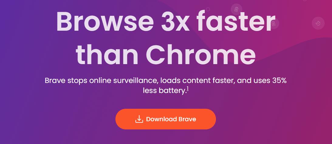Brave's homepage.