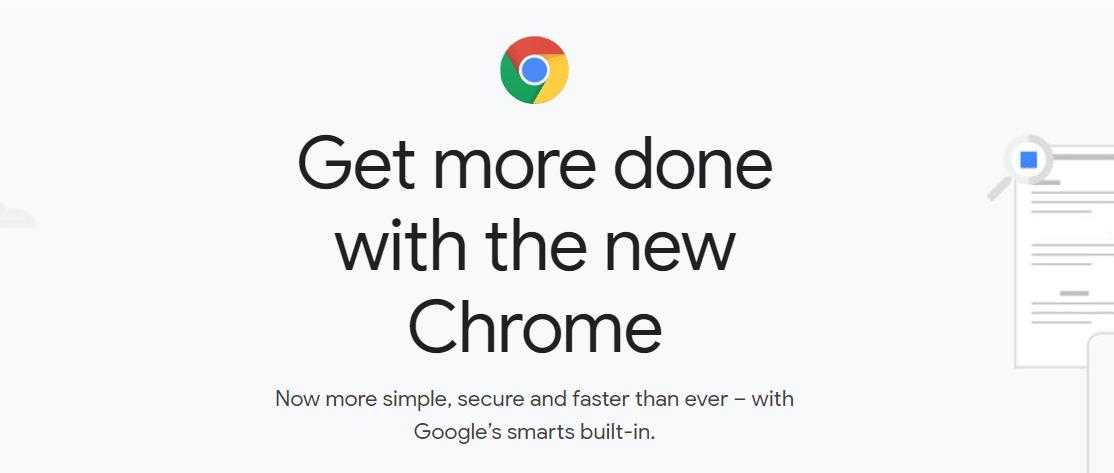Google Chrome's homepage.