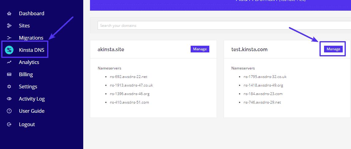 A opção Kinsta DNS do painel MyKinsta.