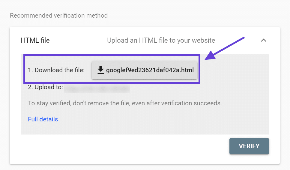 Baixe um arquivo de verificação do Google Search Console.