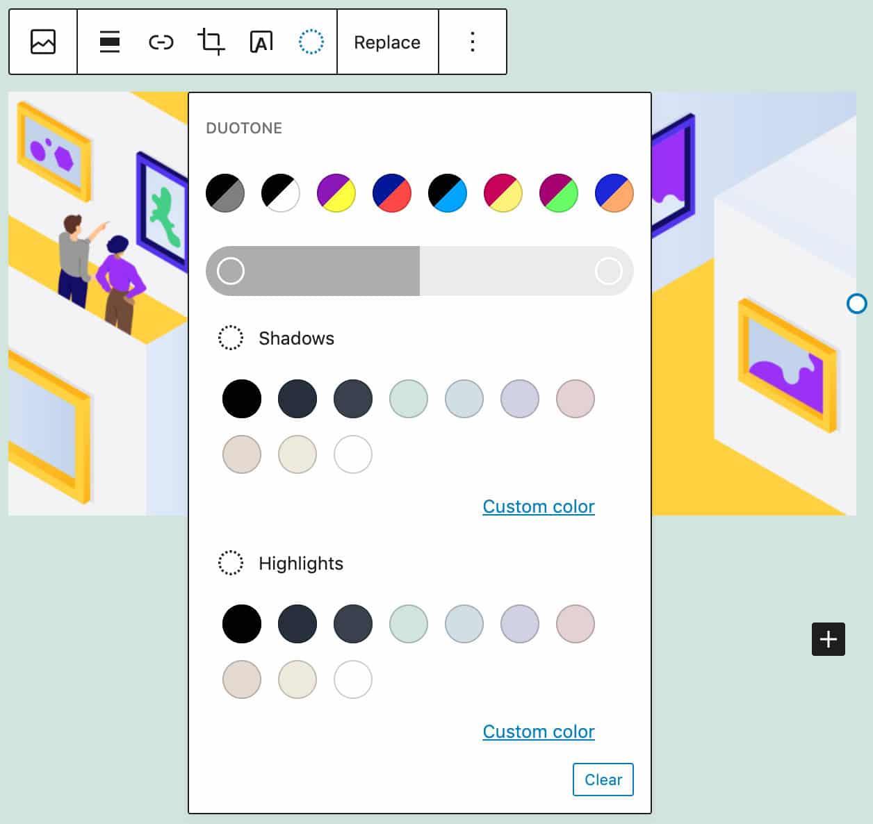Das neue Duoton-Design-Werkzeug in einem Bildblock.