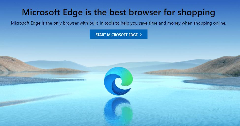 Microsoft Edge's homepage.