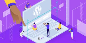 Illustration for how to edit footer in WordPress showing small figures walking on a laptop's keyboard, with the WordPress logo on the screen.