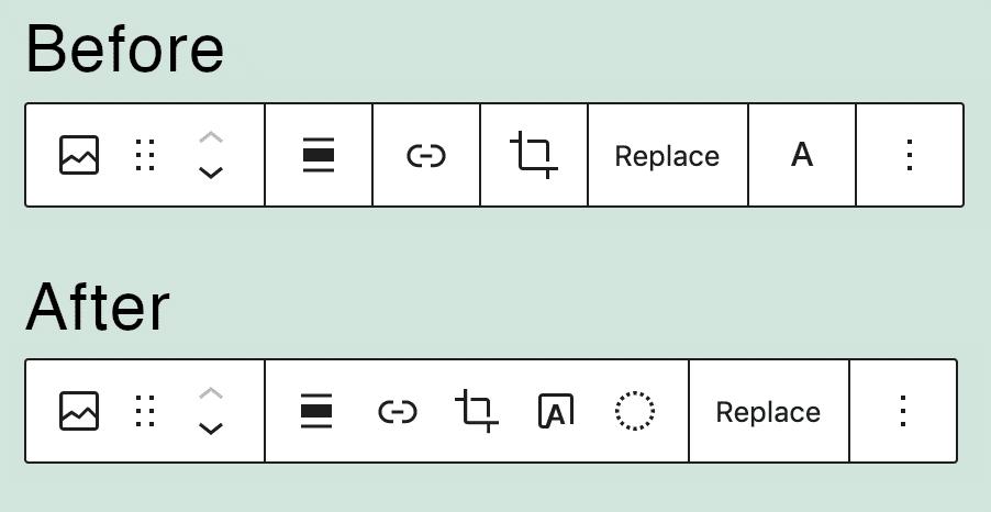 Bildblock-Symbolleiste in WordPress 5.7 vs. WordPress 5.8.