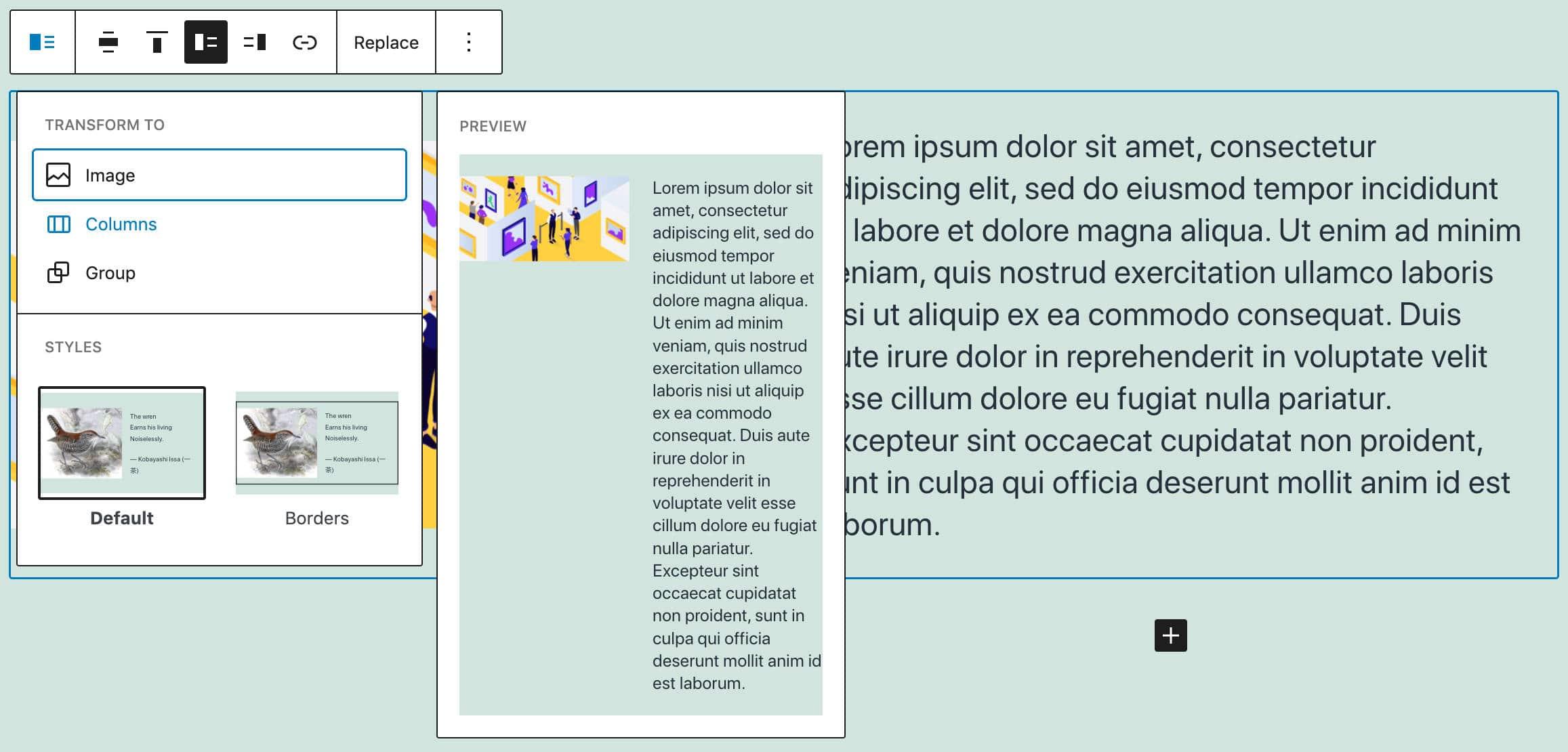 Medien- und Textblocktransformationen und Stile.