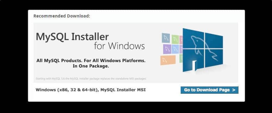 MySQL Installer voor Windows.