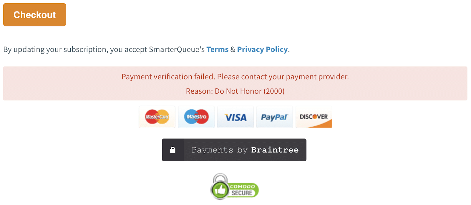 Example of a online credit card purchase being declined (Source: SmarterQueue.com)