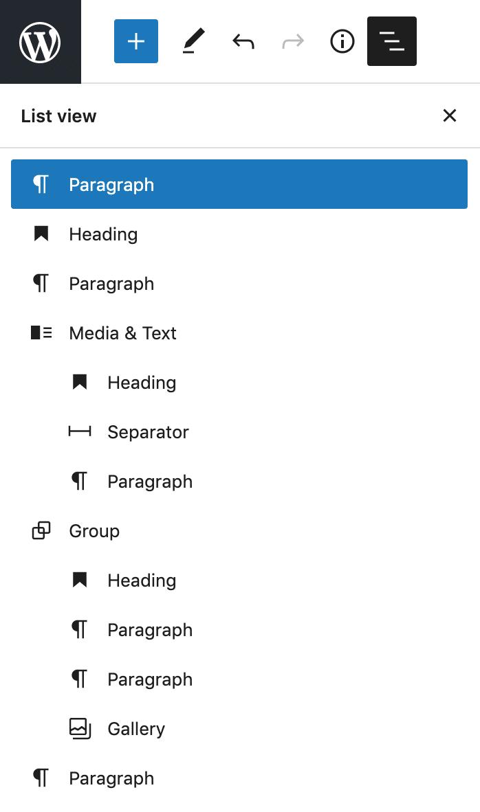 Seitenleiste der Listenansicht in WordPress 5.8.