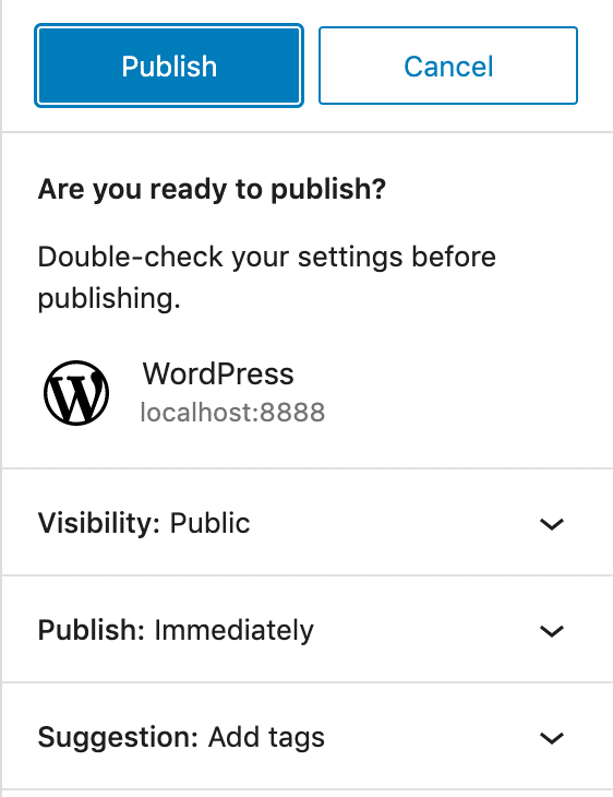 Publishing UI in WordPress 5.8.