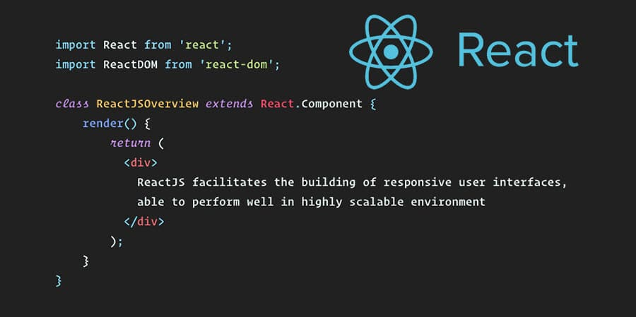 A screenshot of the React logo along with a multi-line code example