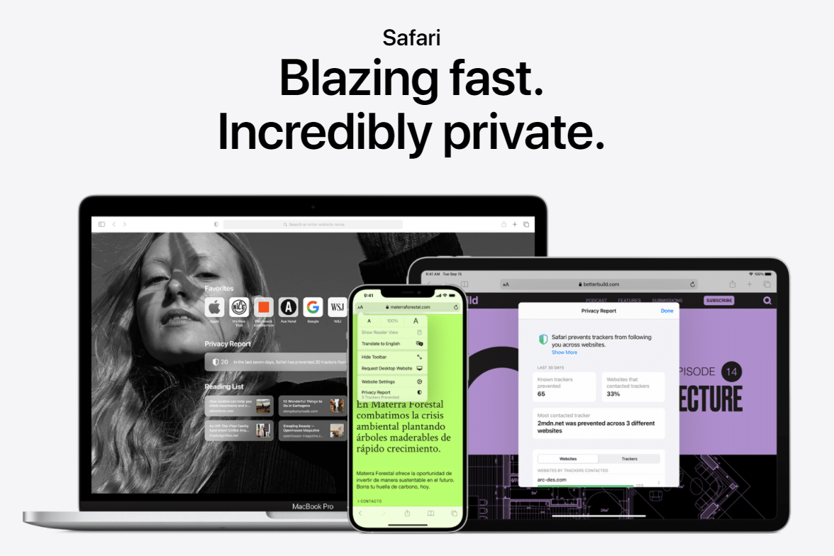 Safari's homepage.