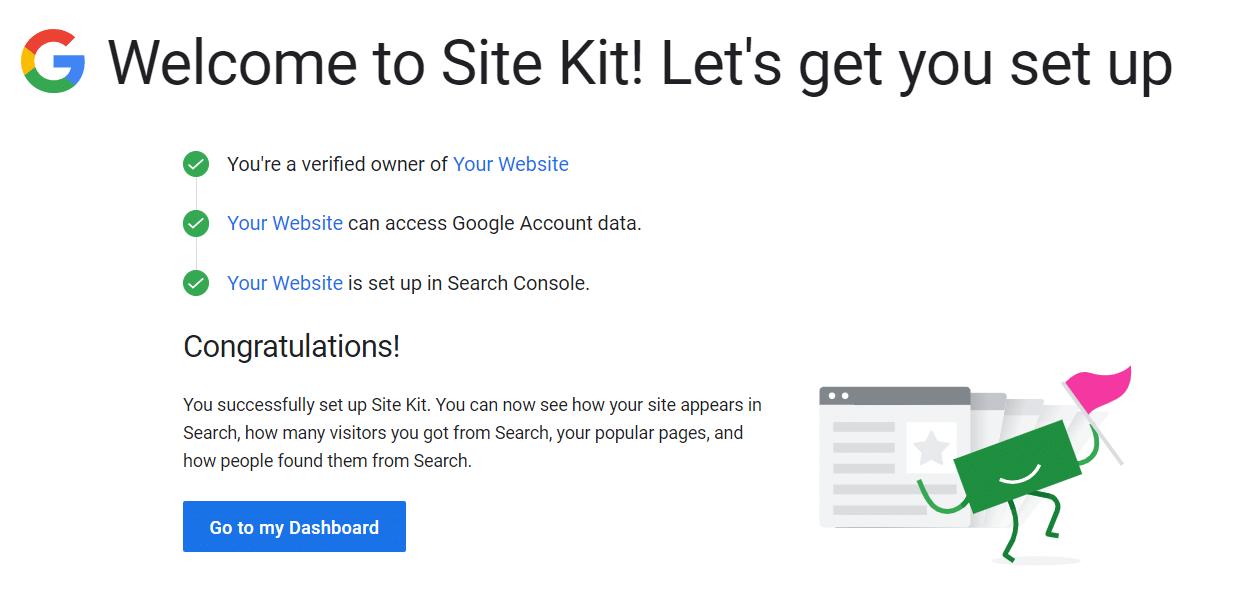 Uma mensagem de sucesso da configuração do Site Kit.