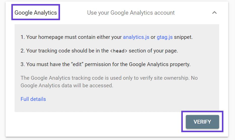 Tela de verificação de conta do Google Analytics.