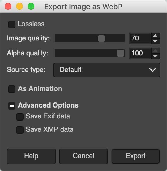 Exportiere das Bild als WebP in GIMP.