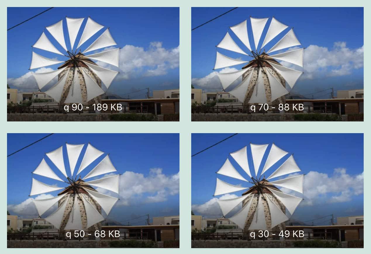 Vergleich von Kompressionsfaktor und Dateigrößen.