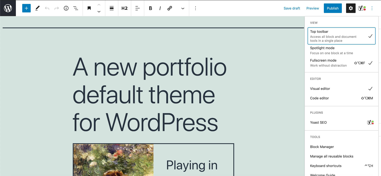 Die obere Symbolleiste auf breiten Bildschirmen in WordPress 5.7.