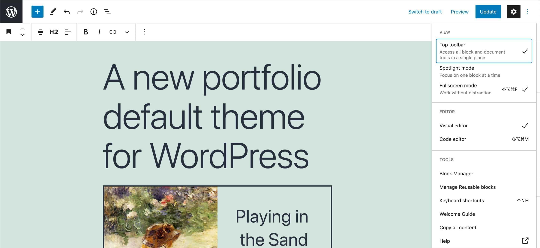 Die obere Symbolleiste auf breiten Bildschirmen in WordPress 5.8.