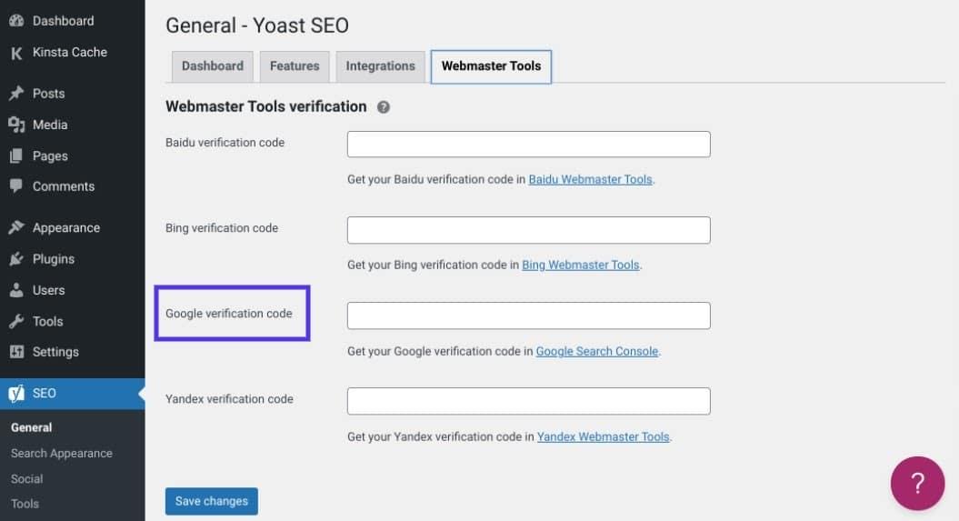 Verificação do site do Google em Yoast SEO.