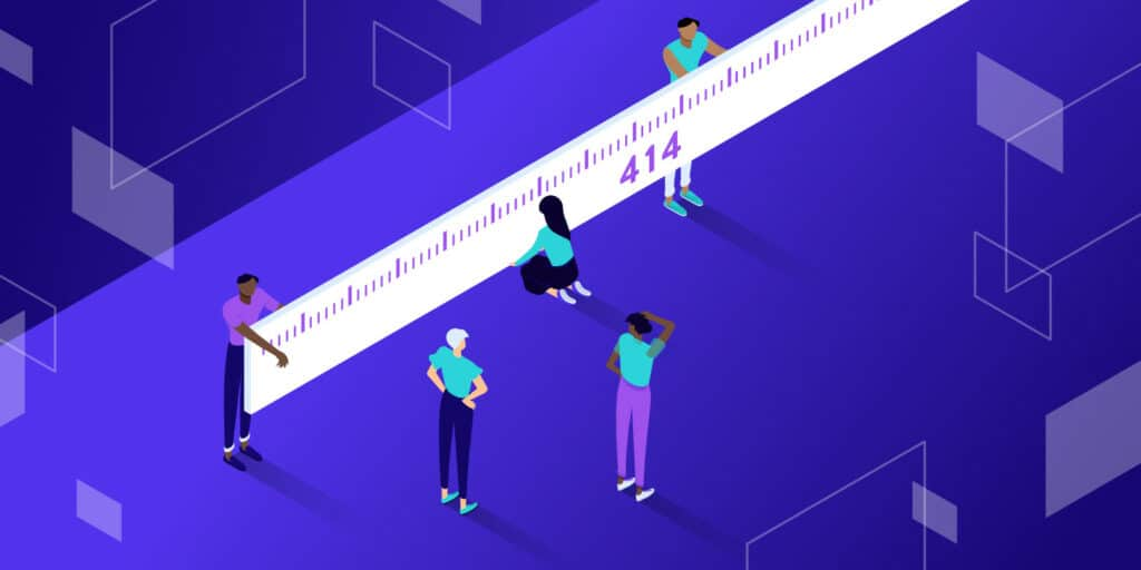 """Illustration of small figures gathered around a giant tape measure measuring """"414"""""""