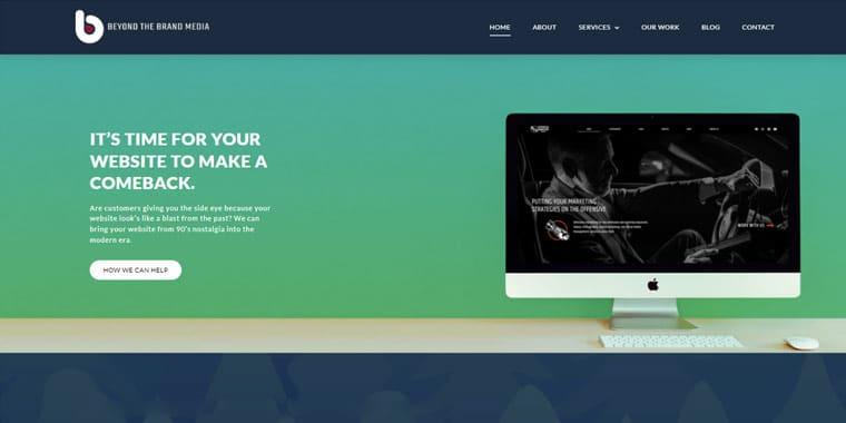 Beyond The Brand Media's homepage