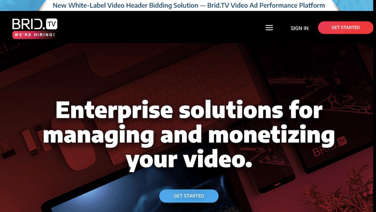 Brid.TV homepage screenshot.