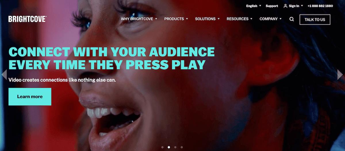 Brightcove homepage screenshot.