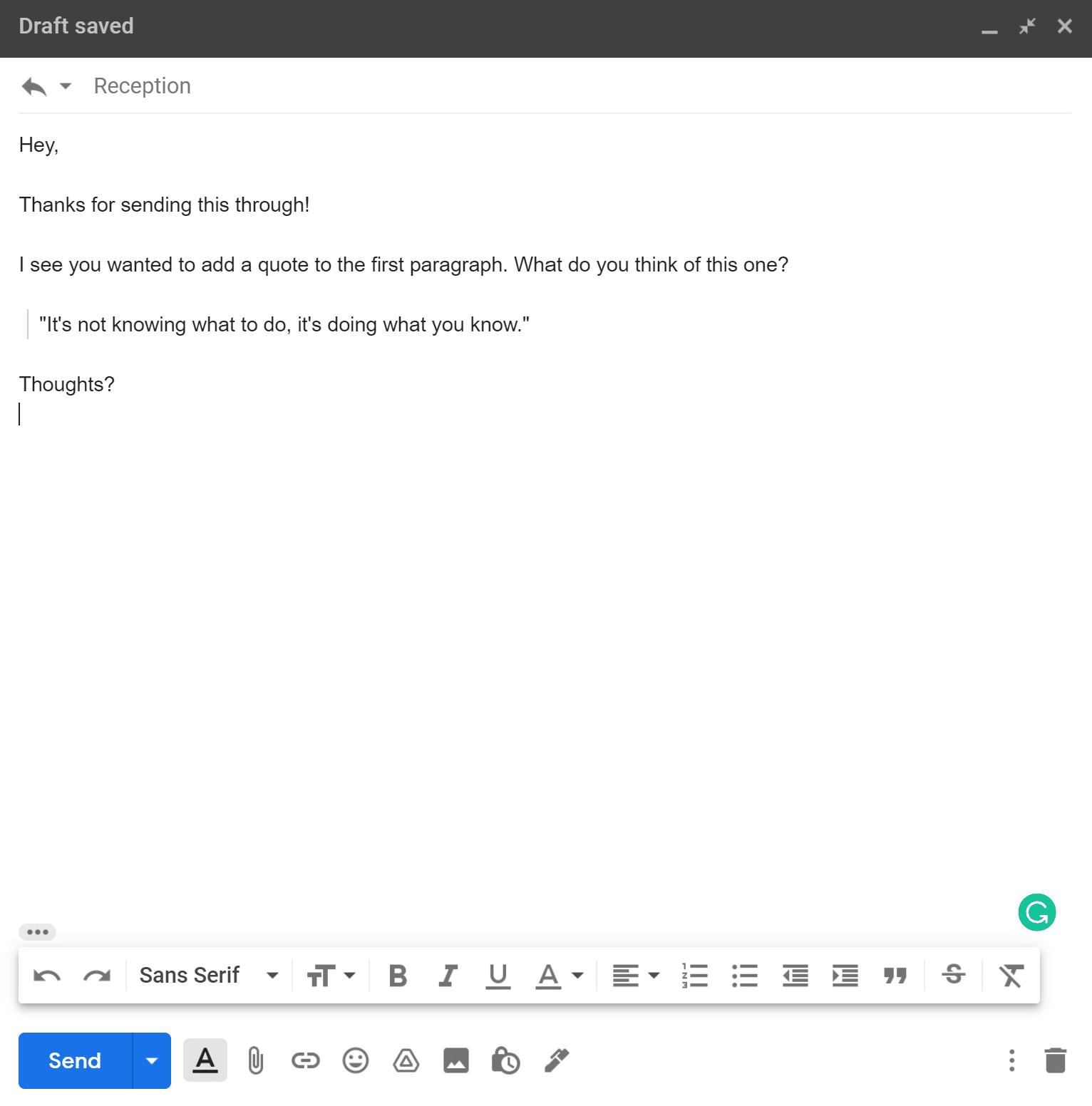 Un esempio di email che mostra la formattazione delle citazioni su un testo che dice