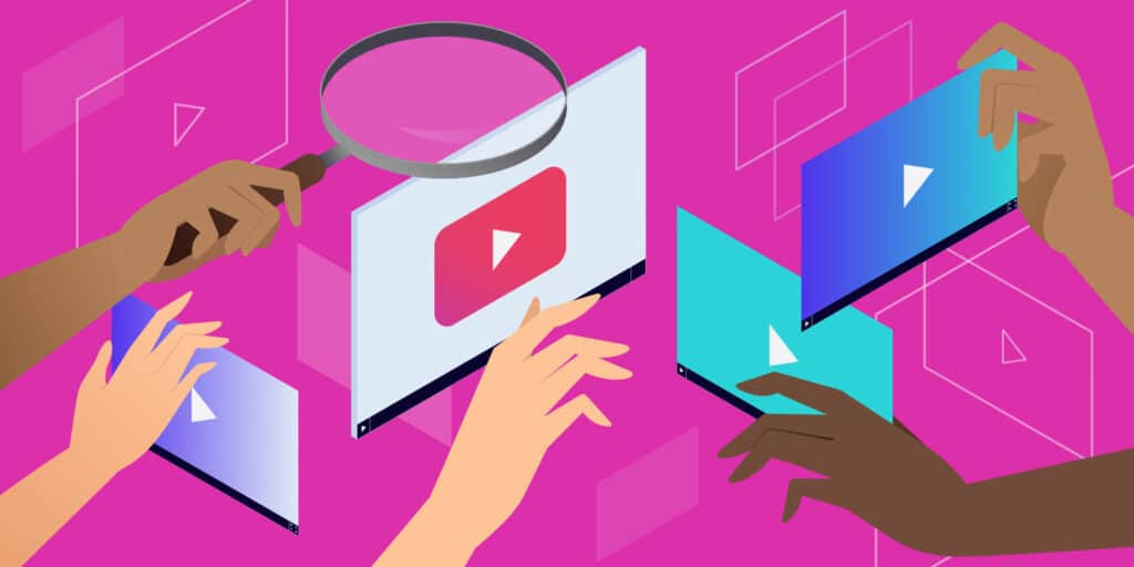 Featured image illustrating all the Alternatives to YouTube in digital panels with hands reaching out towards them.