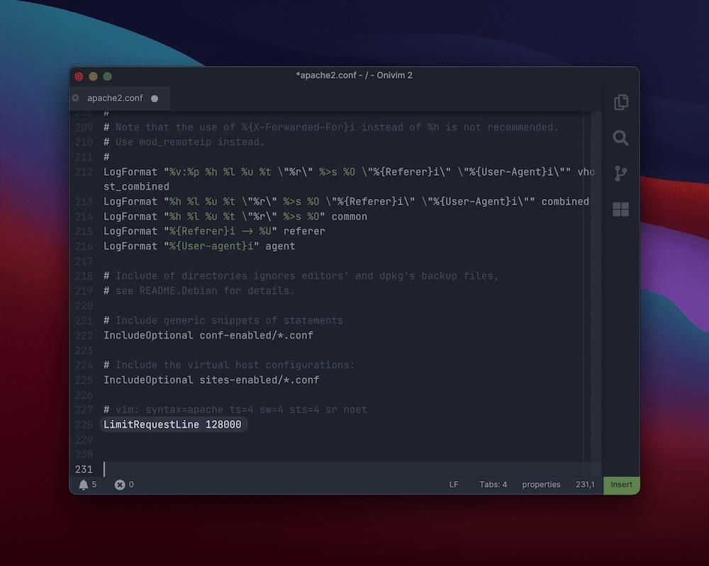 Cambiar los ajustes de configuración del servidor Apache.