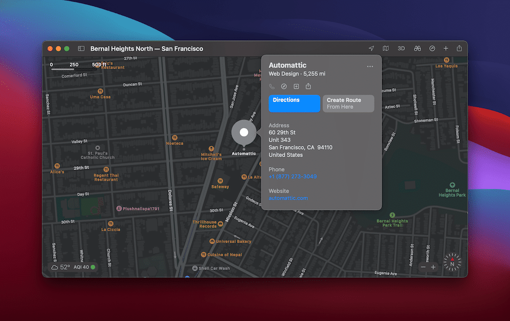 The Automattic offices in Apple Maps.