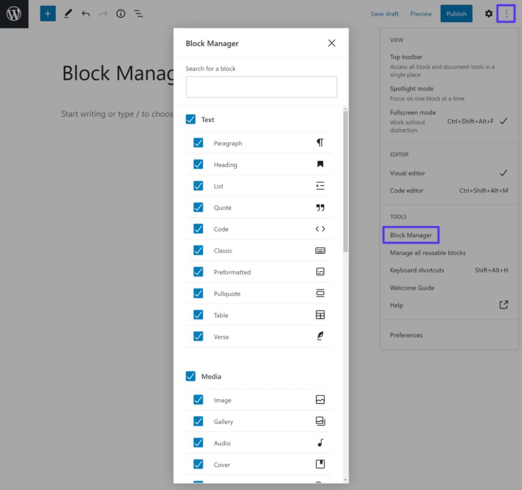 Du kan fjerne markeringen af blocks for at skjule dem for blokindføreren