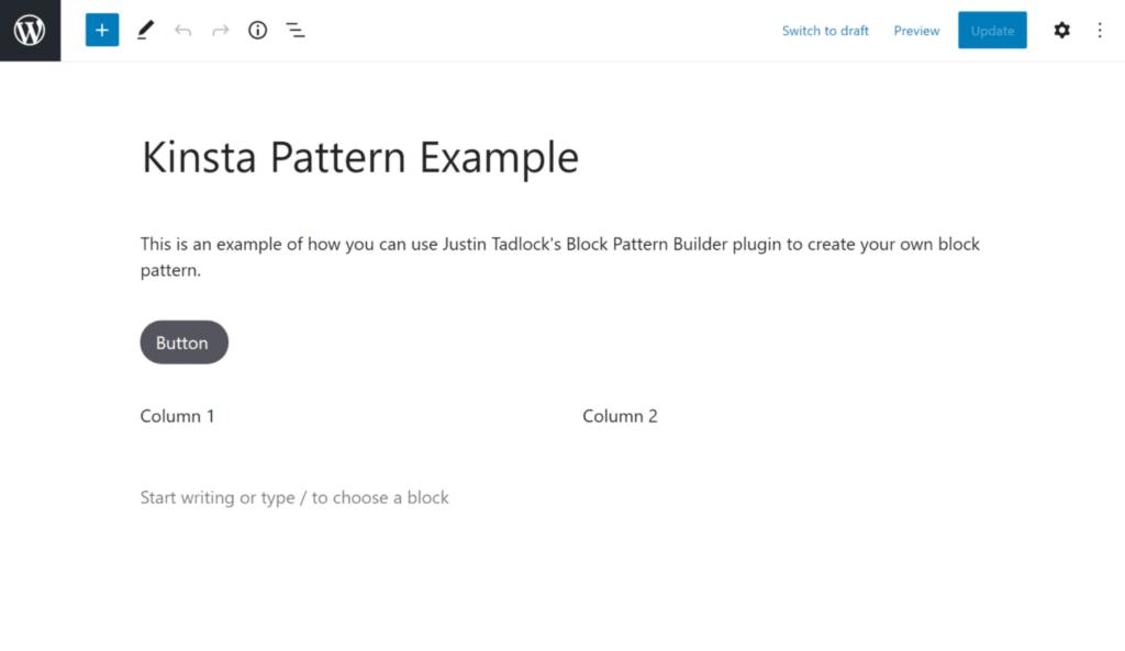 Oprettelse af dit tilpassede block patterns