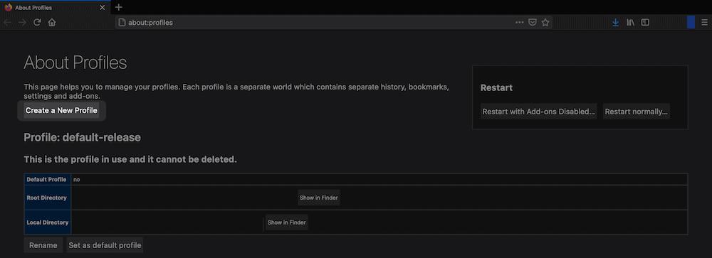 De knop Create a New Profile in Firefox.