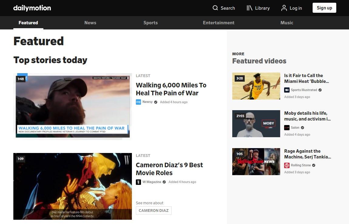 Dailymotion homepage screenshot.
