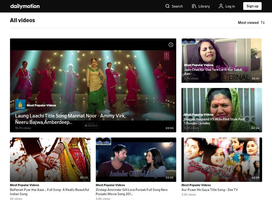 Top videos on Dailymotion screenshot.
