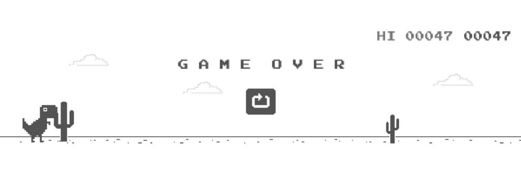 Le jeu du dinosaure, un exemple de jeu intégré au navigateur web créé à l'aide de JavaScript.