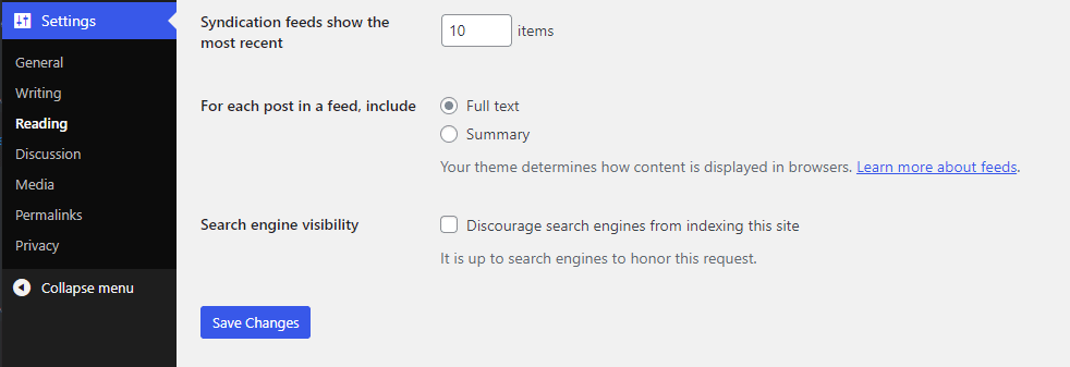 """Screenshot showing the search engine visibility checkbox in the """"Settings"""" section of WordPress"""