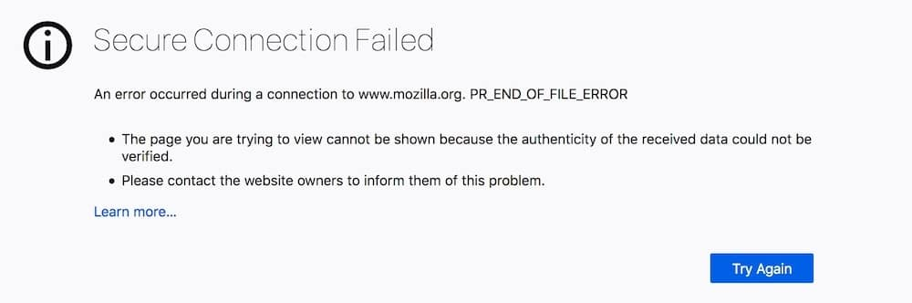Een voorbeeld van de foutmelding PR_END_OF_FILE_ERROR.