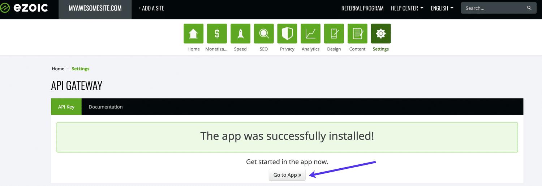 Klik op Go to App nadat de API Gateway app geïnstalleerd is.