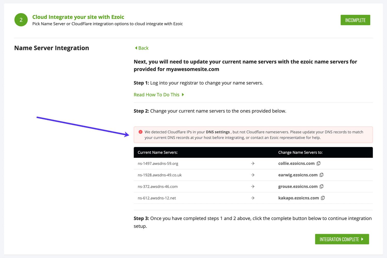 Je kan gerust eventuele waarschuwingen van Ezoic negeren over Cloudflare IP adressen in je DNS records.