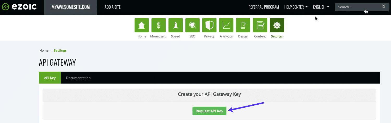 Request API Key binnen het Ezoic dashboard.
